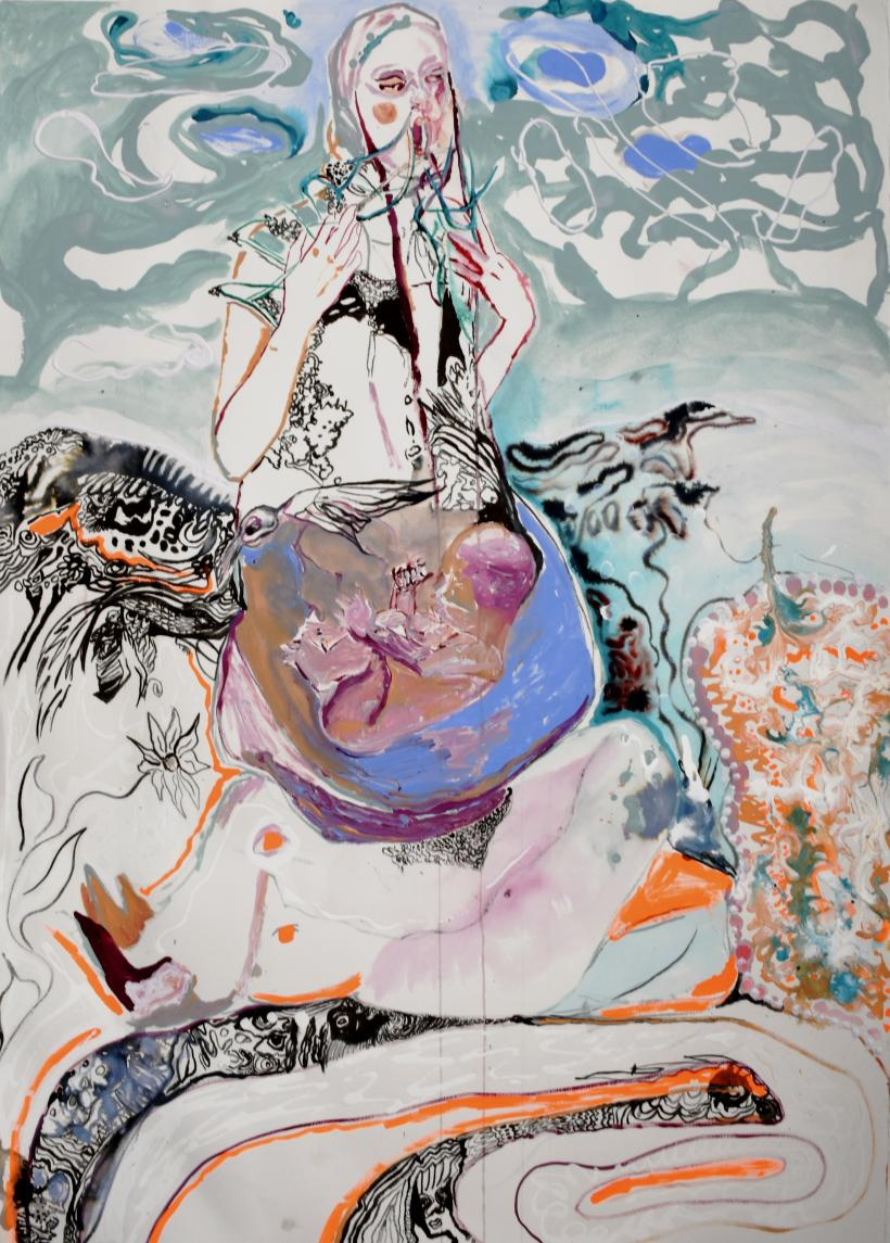Rhiannon Salisbury, Rapacious Core, 2020, acrylic and ink on hand pressed fabriano paper 320 gas, 70 x 100 cm