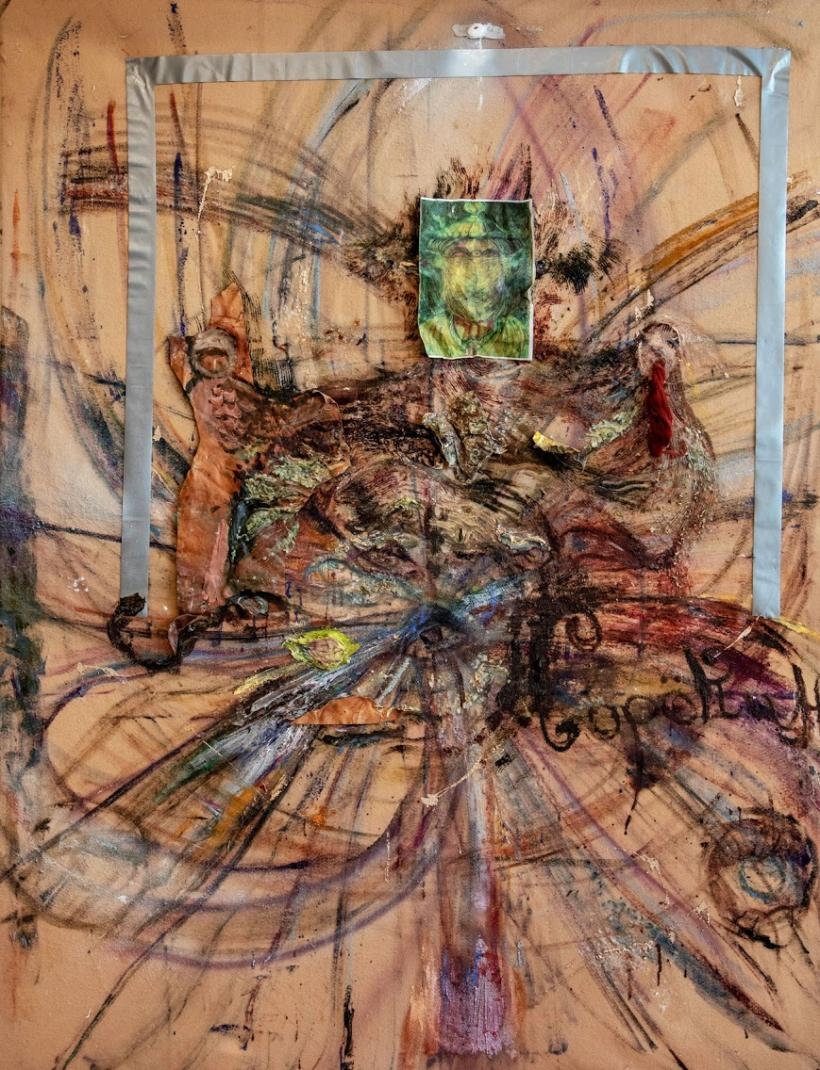 Tahmina Negmat, The Demon, 2020, oil and beeswax on felt, 191 x 145 cm