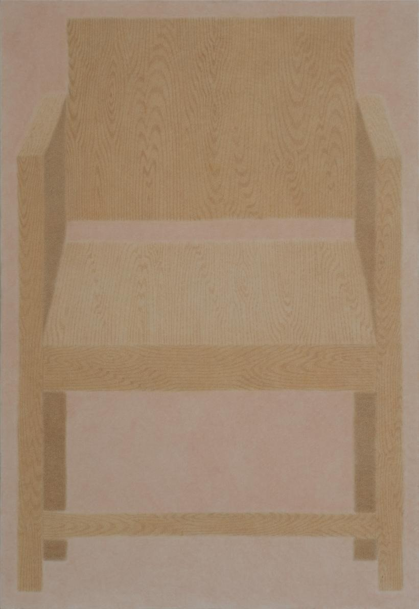 A chair , 2020 Pigment on crepe 86cm x 127cm