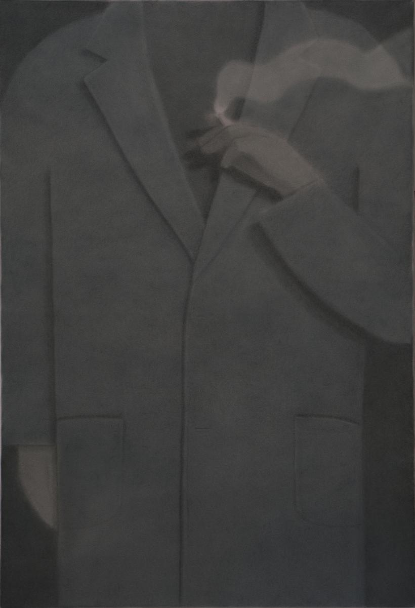 Smoker, at night, 2020 pigment on crepe 86 x 127cm