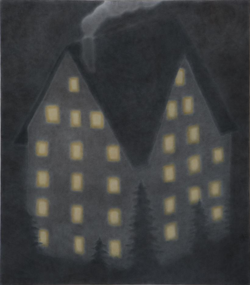 Chalet at night, 2019 Pigment on crepe 105 x 120cm