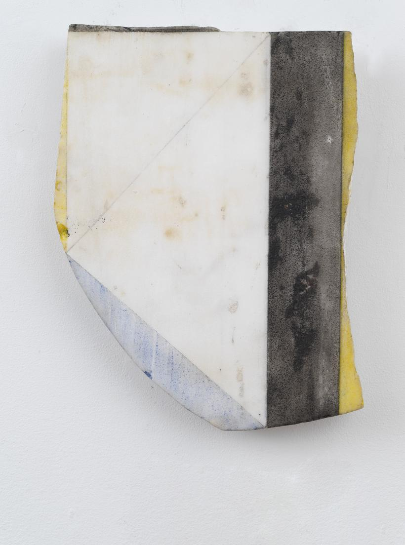 BRICE MARDEN, Untitled (Black Stripe Marble), 1987, Oil and graphite on marble, 14 1/2 x 10 1/2 in 36.8 x 26.7 cm, copyright 2020 Brice Marden/Artists Rights Society (ARS), New York. Photo: Rob McKeever Courtesy Gagosian