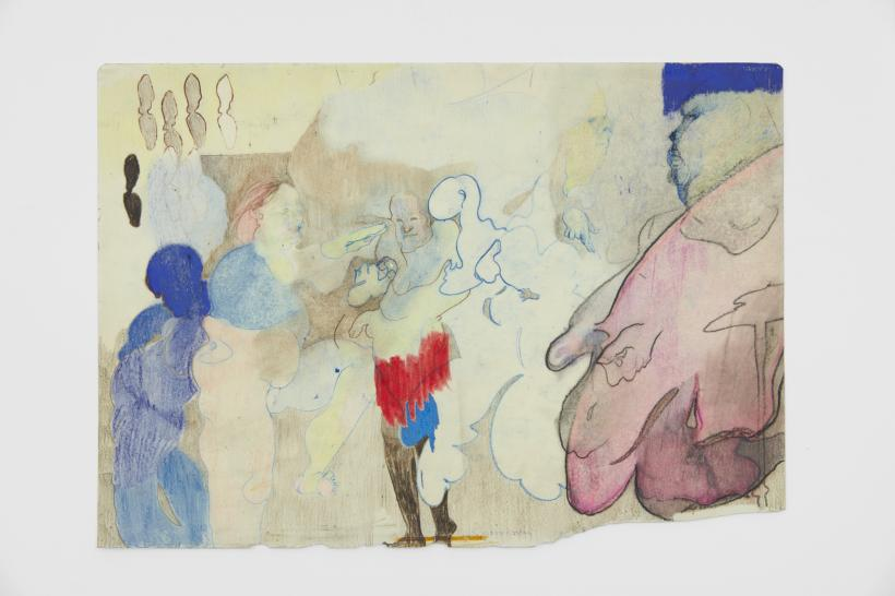 King's Maid's Dream, 2020 Coloured pencil, graphite, crayon on linseed, turps and cooking oil primed paper 297 x 420 mm