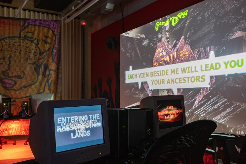 Danielle Brathwaite-Shirley Resurrection Lands 2020 Digital video, 40 minutes 51 seconds; four console online game; banners; cctv; painted wall installation Courtesy the artist