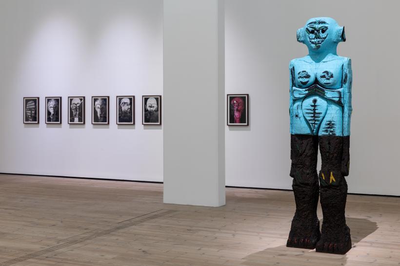 Huma Bhabha Untitled 2009 and Receiver 2018, Courtesy the artist and Salon 94, New York. Huma Bhabha Against Time, BALTIC Centre for Contemporary Art 2020.