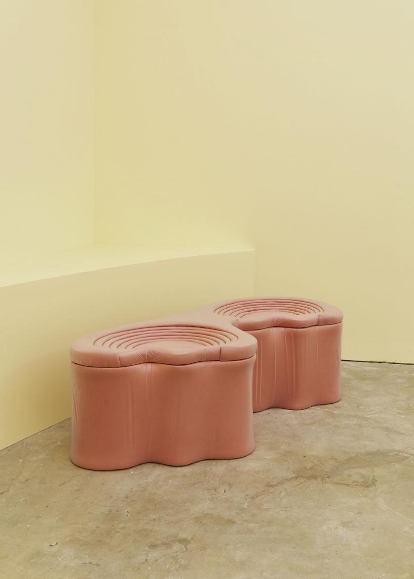 Device in the service of life  Suedette, TPU, high-density upholstery foam (seat in 2 parts)  48 x 161 x 63 cm & 48 x 71 x 48 cm, 2020